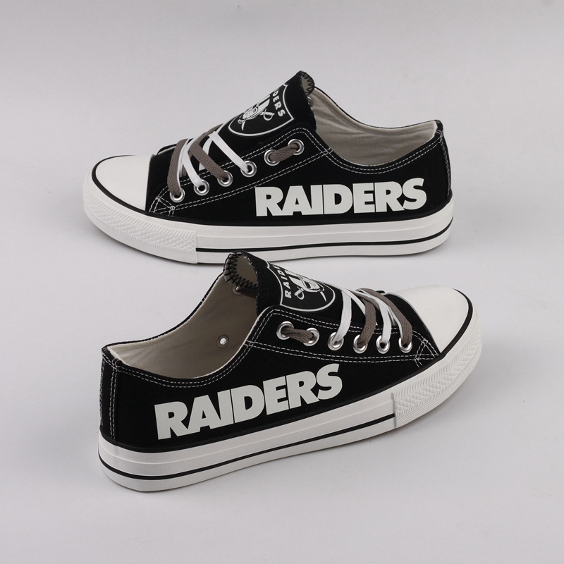 All Sizes NFL Oakland Raiders Repeat Print Low Top Sneakers 003