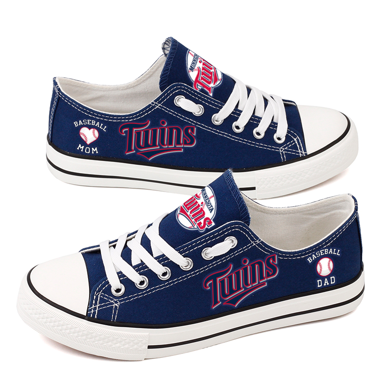 Women and Youth MLB Minnesota Twins Repeat Print Low Top Sneakers 002