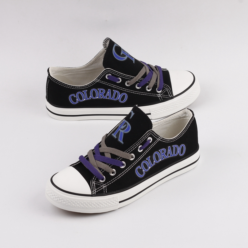 Women and Youth MLB Colorado Rockies Repeat Print Low Top Sneakers