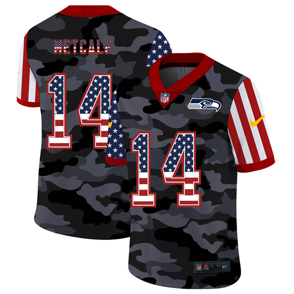 Men's Seattle Seahawks #14 D.K. Metcalf 2020 Camo USA Flag Limited Stitched NFL Jersey