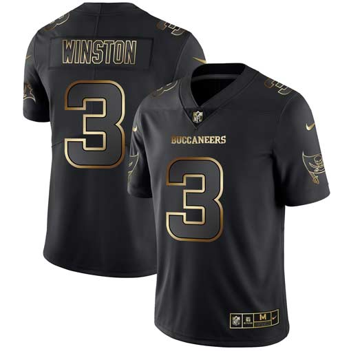 Men's Tampa Bay Buccaneers #3 Jameis Winston 2019 Black Gold Edition Stitched NFL Jersey