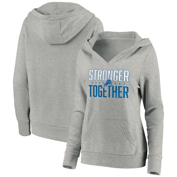 Women's Detroit Lions Heather Gray Stronger Together Crossover Neck Pullover Hoodie(Run Small)