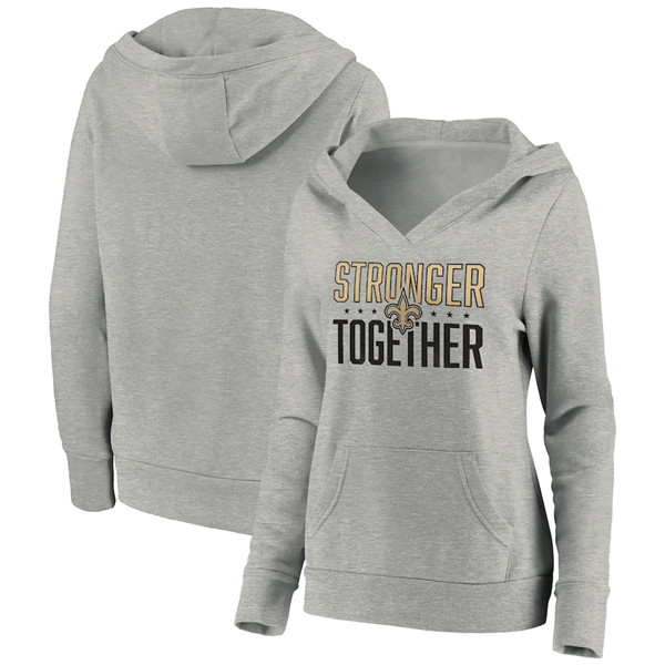 Women's New Orleans Saints Heather Gray Stronger Together Crossover Neck Pullover Hoodie(Run Small)