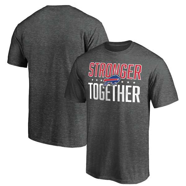 Men's Buffalo Bills Heather Charcoal Stronger Together T-Shirt
