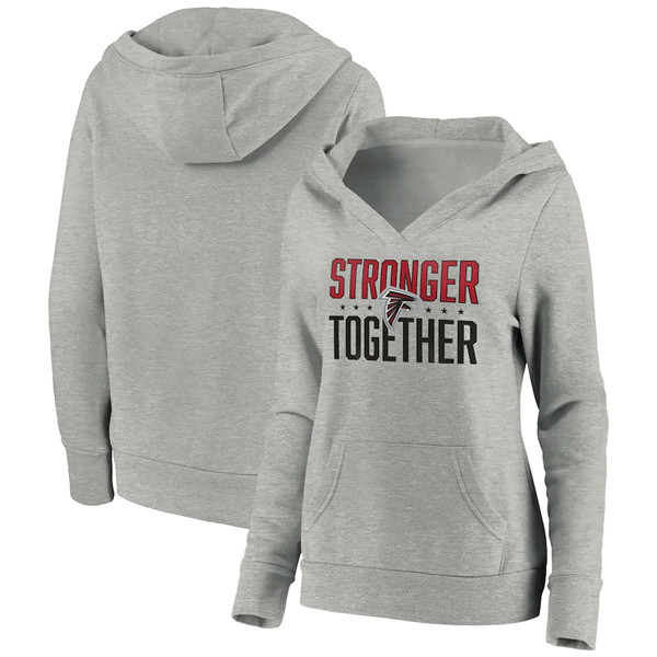 Women's Atlanta Falcons Heather Gray Stronger Together Crossover Neck Pullover Hoodie(Run Small)