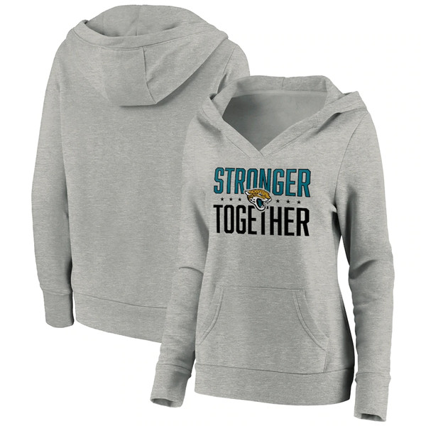 Women's Jacksonville Jaguars Heather Gray Stronger Together Crossover Neck Pullover Hoodie(Run Small)