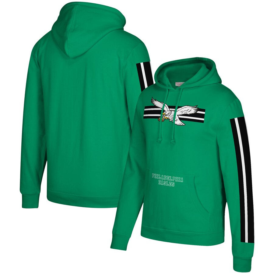 Men's Philadelphia Eagles 2019 Green Mitchell & Ness Three Stripe Pullover Hoodie
