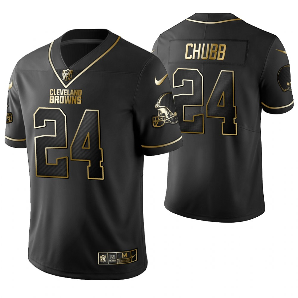 Men's Cleveland Browns #24 Nick Chubb 2019 Black Gold Edition Stitched NFL Jersey