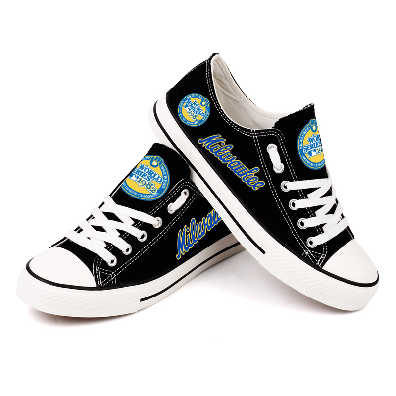 Women and Youth MLB Milwaukee Brewers Repeat Print Low Top Sneakers 002
