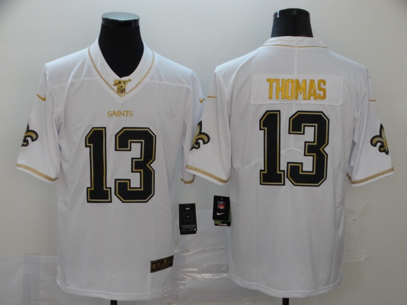 Men's New Orleans Saints #13 Michael Thomas White 2019 100th Season Golden Edition Limited Stitched NFL Jersey