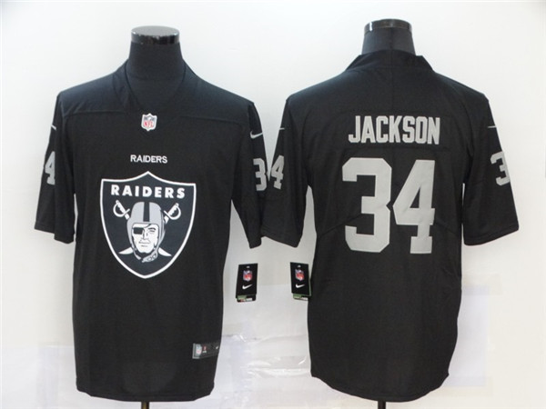 Men's Oakland Raiders #34 Bo Jackson Big Logo Black Limited NFL Stitched Jersey