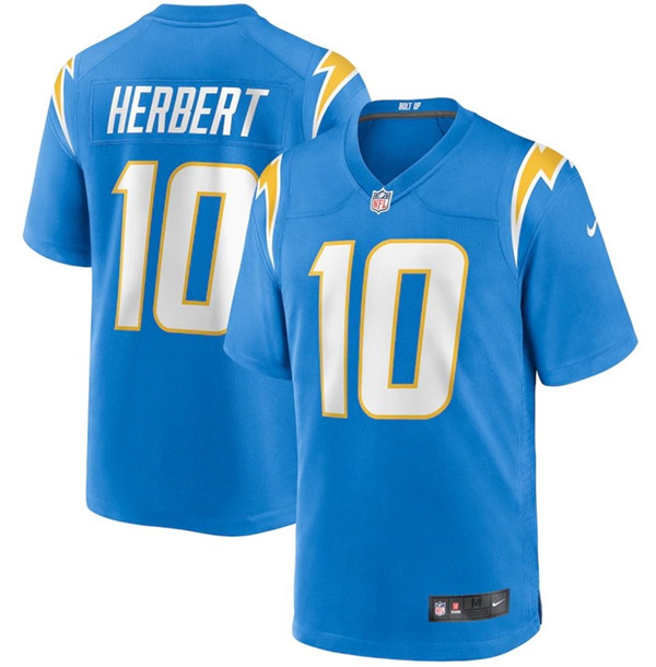 Men's Los Angeles Chargers #10 Justin Herbert 2020 Blue Stitched Jersey