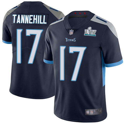 Men's Tennessee Titans #17 Ryan Tannehill Super Bowl LIV Navy With SuperBowl Patch Vapor Untouchable Limited Stitched NFL Jersey