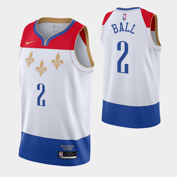Men's New Orleans Pelicans #2 Lonzo Ball White City Edition New Uniform 2020-21 Stitched NBA Jersey