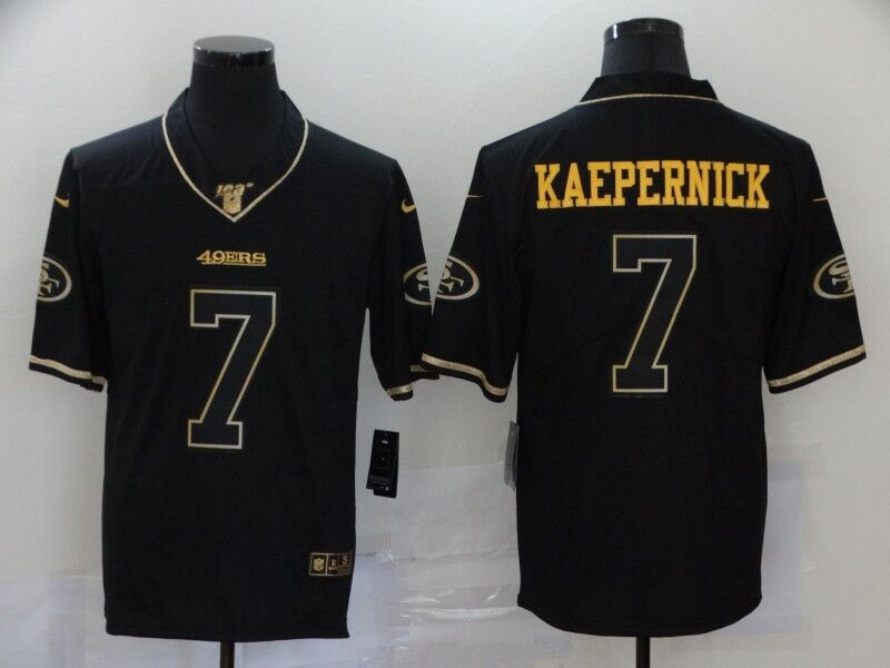 Men's San Francisco 49ers #7 Colin Kaepernick Black Golden Edition Stitched Jersey