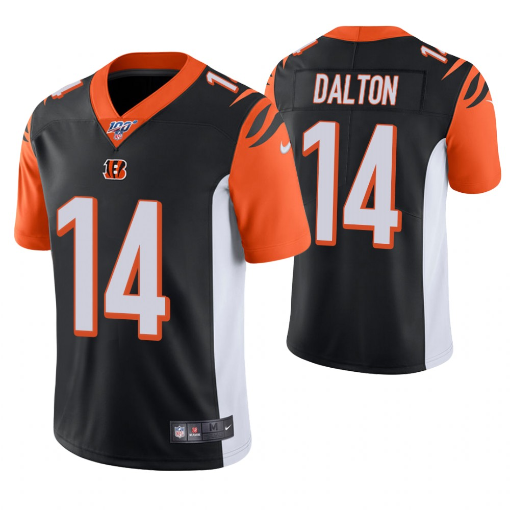 Men's Cincinnati Bengals #14 Andy Dalton Black 100th Season Vapor Untouchable Limited Stitched NFL Jersey.