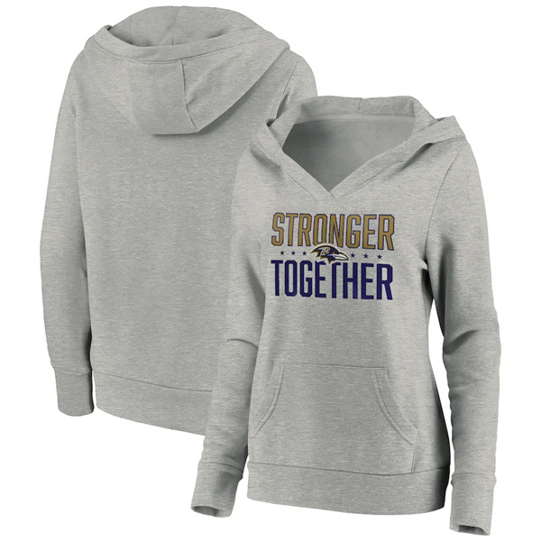 Women's Baltimore Ravens Heather Gray Stronger Together Crossover Neck Pullover Hoodie(Run Small)
