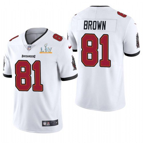 Men's Tampa Bay Buccaneers #81 Antonio Brown White 2021 Super Bowl LV Limited Stitched NFL Jersey