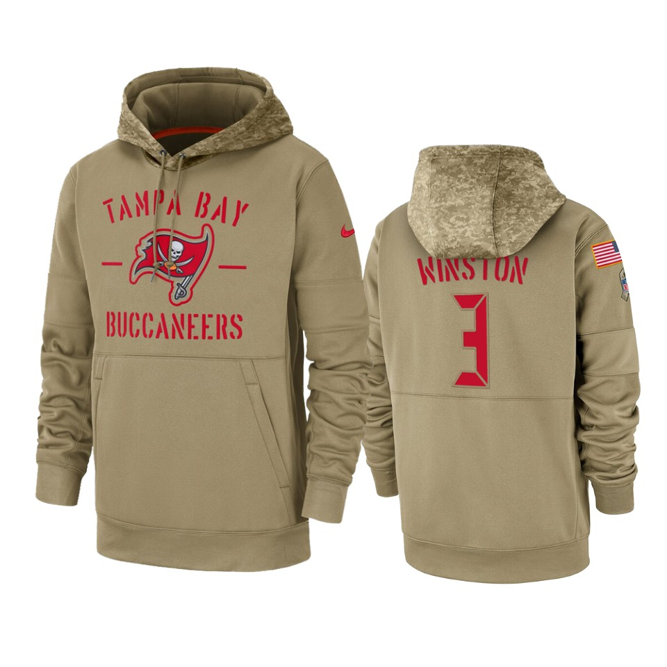 Men's Tampa Bay Buccaneers #3 Jameis Winston Tan 2019 Salute to Service Sideline Therma Pullover Hoodie