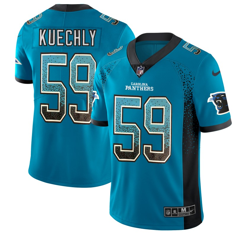 Men's Panthers #59 Luke Kuechly Blue 2018 Drift Fashion Color Rush Limited Stitched NFL Jersey