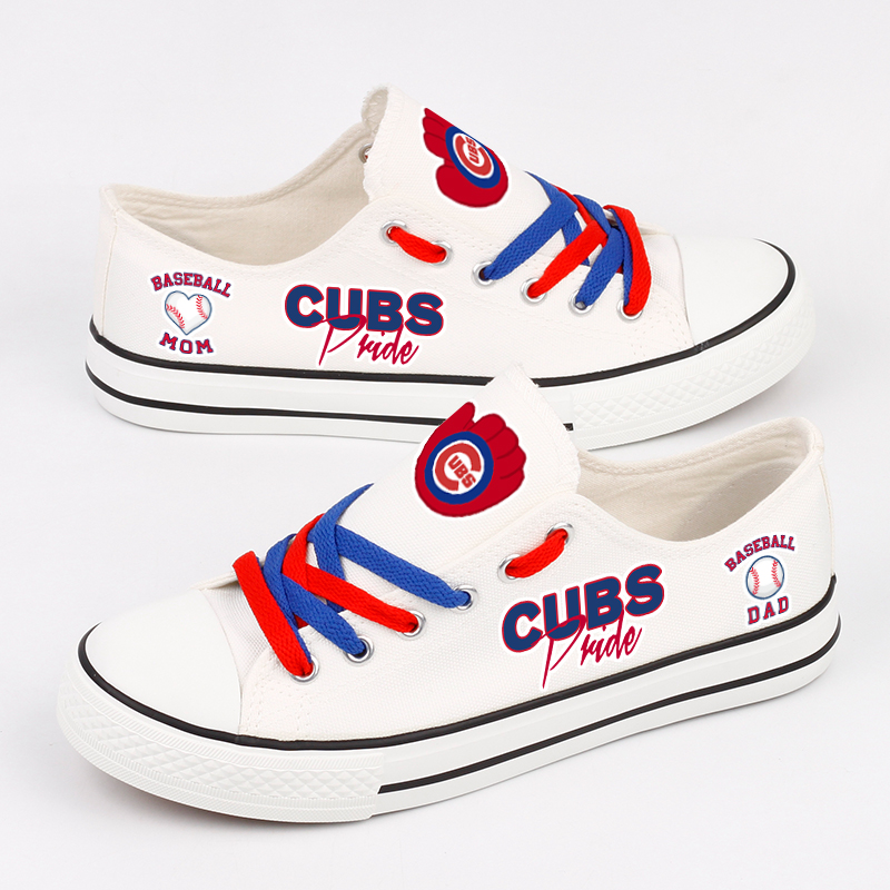 Women and Youth Chicago Cubs Repeat Print Low Top Sneakers 006