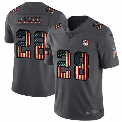 Men's Oakland Raiders #28 Josh Jacobs Grey 2019 Salute To Service USA Flag Fashion Limited Stitched NFL Jersey