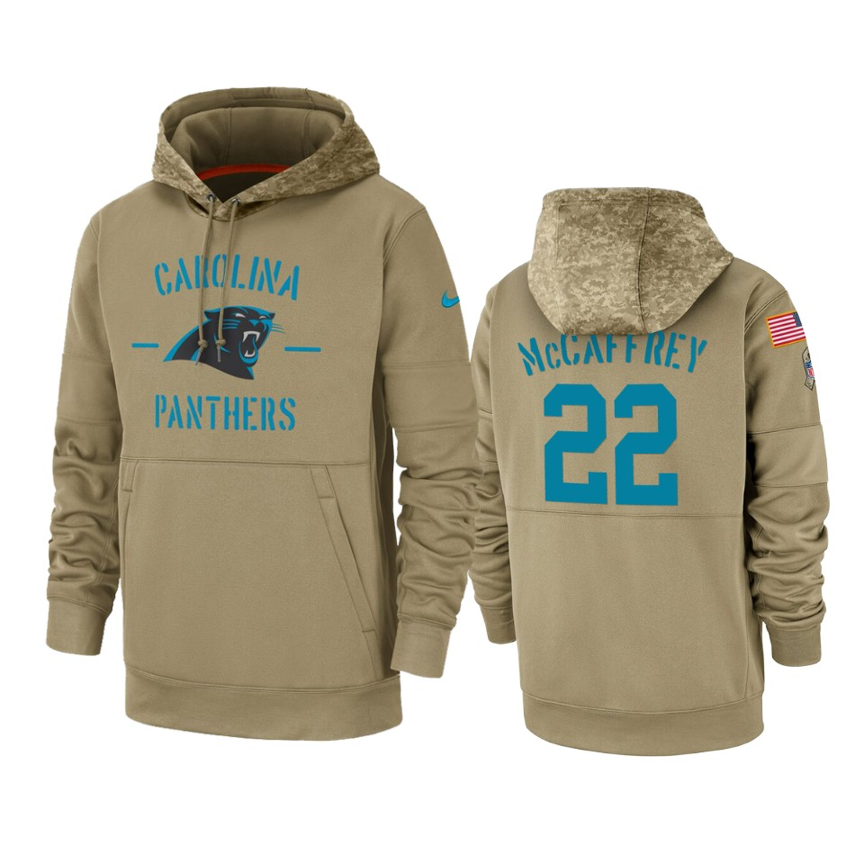 Men's Carolina Panthers #22 Christian McCaffrey Tan 2019 Salute to Service Sideline Therma Pullover Hoodie