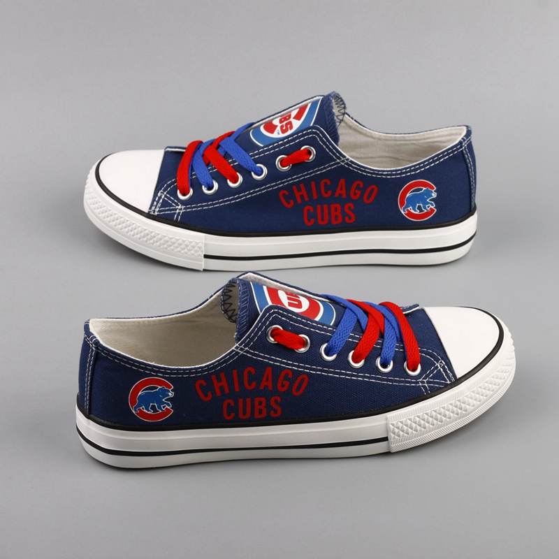Women and Youth Chicago Cubs Repeat Print Low Top Sneakers 002