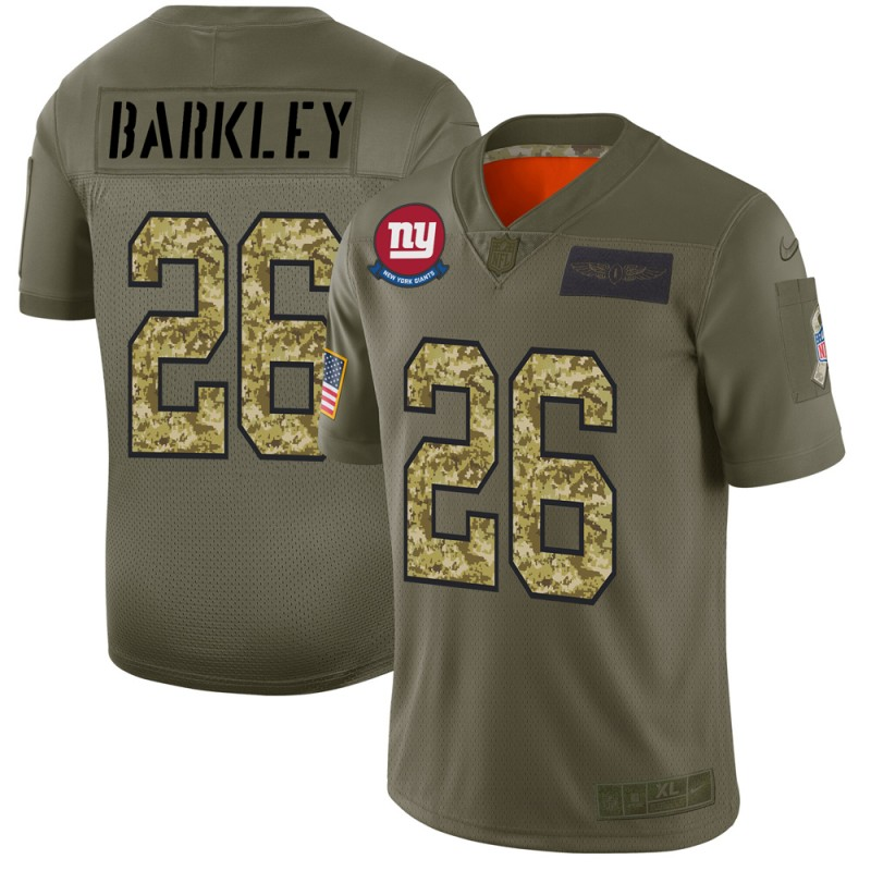 Men's New York Giants #26 Saquon Barkley 2019 Olive/Camo Salute To Service Limited Stitched NFL Jersey