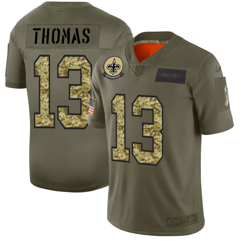 Men's New Orleans Saints #13 Michael Thomas 2019 Olive/Camo Salute To Service Limited Stitched NFL Jersey