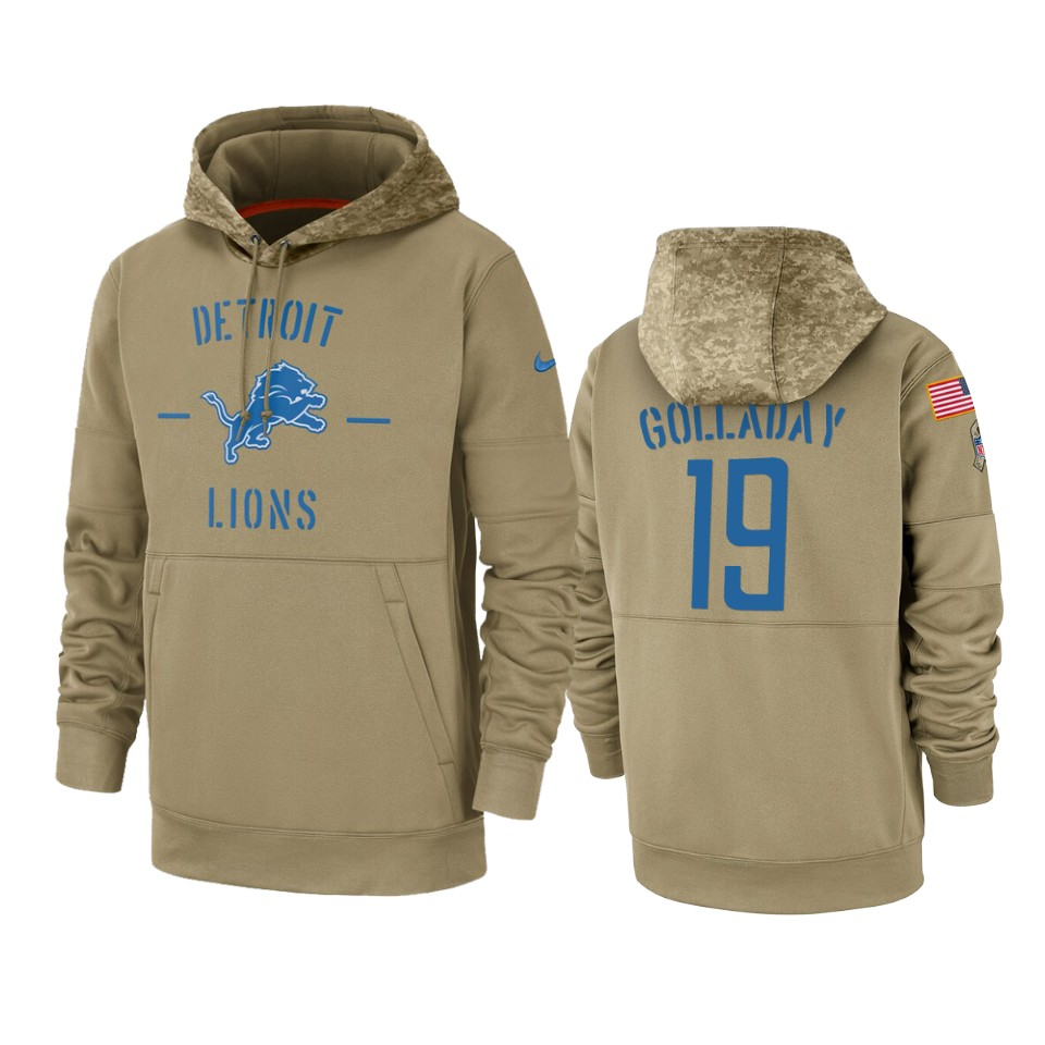 Men's Lions #19 Kenny Golladay Tan 2019 Salute to Service Sideline Therma Pullover Hoodie