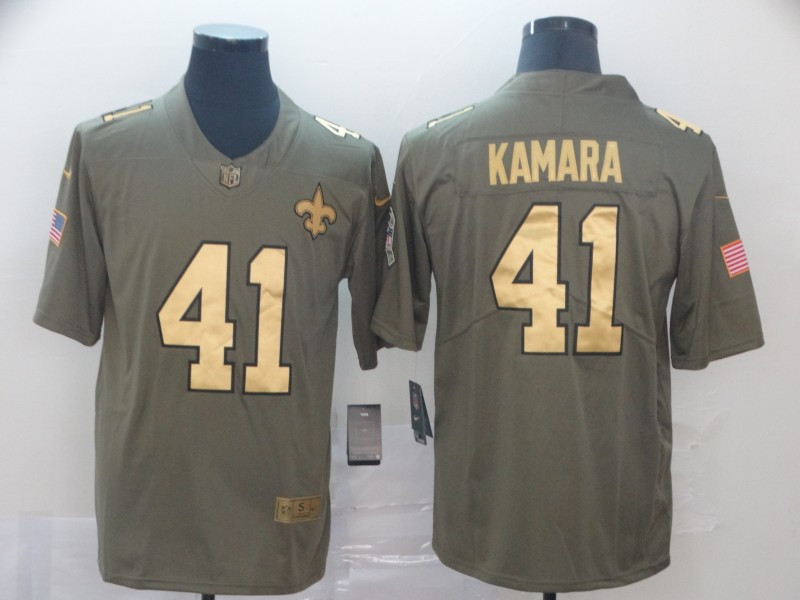 Men's New Orleans Saints #41 Alvin Kamara Camo Salute To Service Stitched NFL Gold Jersey