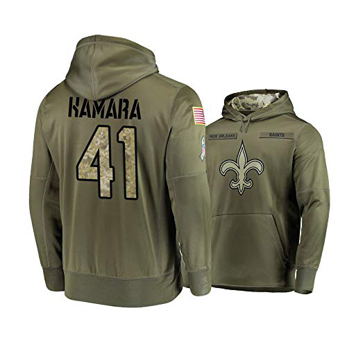 Men's New Orleans Saints #41 Alvin Kamara 2019 Olive Salute To Service Sideline Therma Performance Pullover