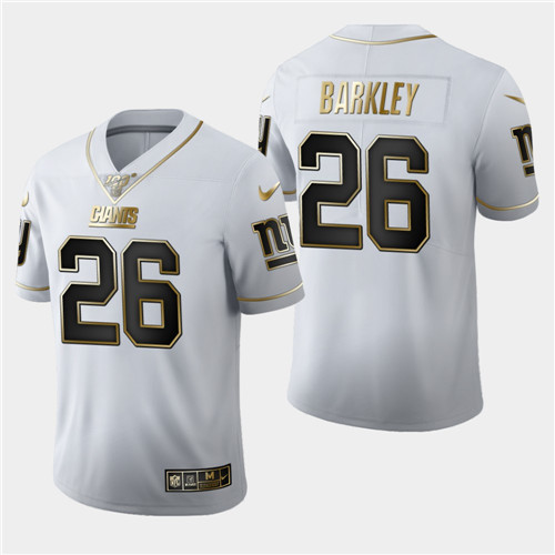 Men's New York Giants #26 Saquon Barkley White 2019 100th Season Golden Edition Limited Stitched NFL Jersey