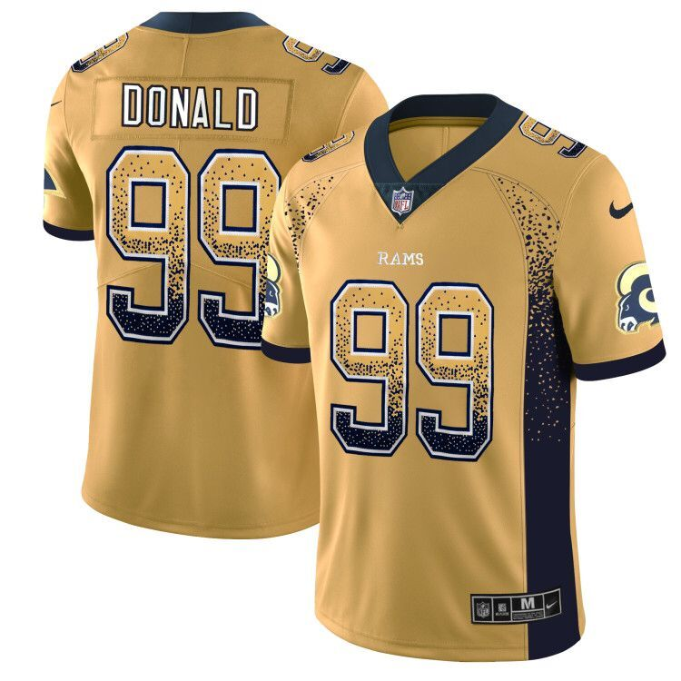 0cb9534a0 Men s Los Angeles Rams  99 Aaron Donald Gold 2018 Drift Fashion Color Rush  Limited Stitched