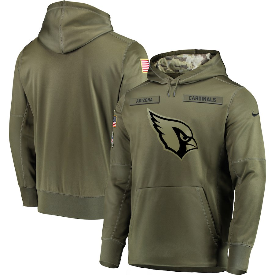 Men's Arizona Cardinals 2018 Olive Salute to Service Sideline Therma Performance Pullover Stitched NFL Hoodie