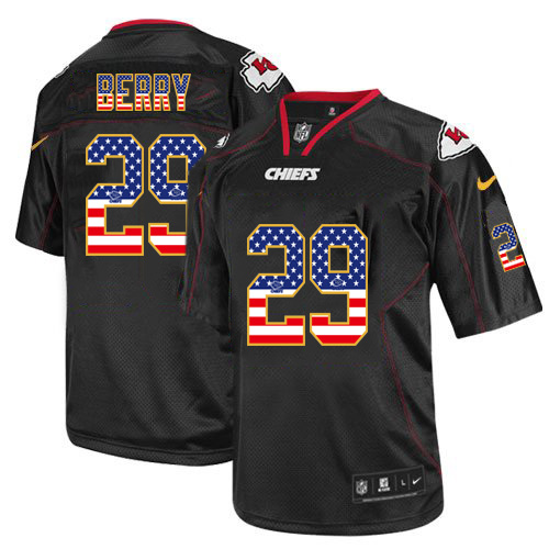 Men's Nike Chiefs #29 Eric Berry Black USA Flag Fashion Elite Stitched Jersey
