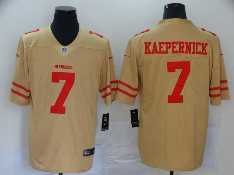Men's San Francisco 49ers #7 Colin Kaepernick Gold Inverted Legend Stitched Jersey