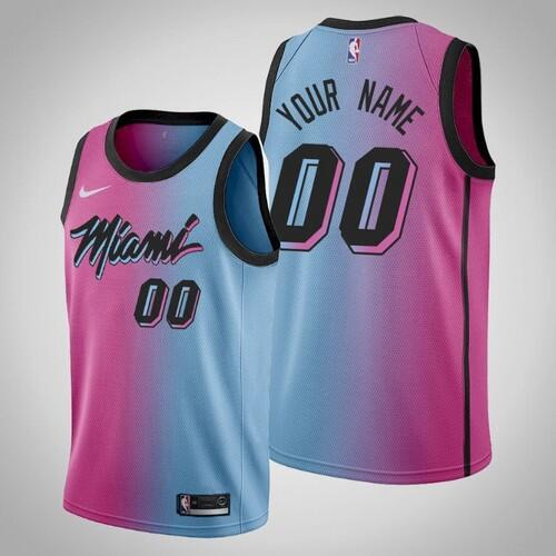 Men's Miami Heat Active Player 2020 Blue/Pink City Edition Vice Stitched NBA Jersey