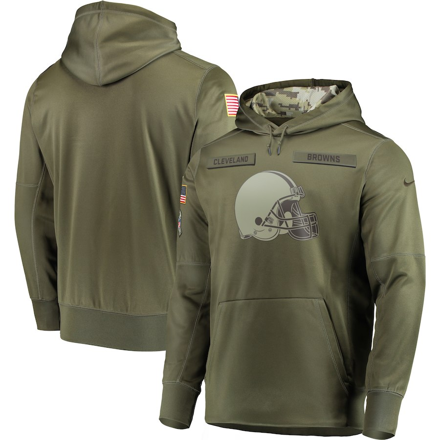 Men's Cleveland Browns 2018 Olive Salute to Service Sideline Therma Performance Pullover Stitched NFL Hoodie