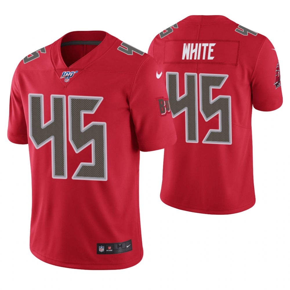 Men's Tampa Bay Buccaneers #45 Devin White Red 2019 100th Season Color Rush Limited Stitched NFL Jersey