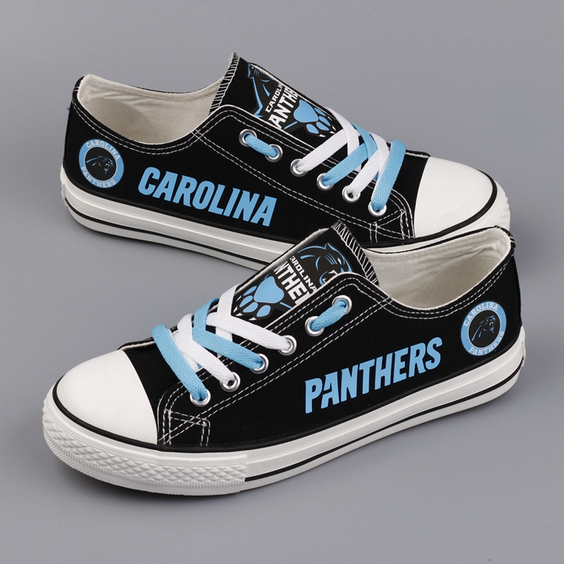Women and Youth NFL Carolina Panthers Repeat Print Low Top Sneakers