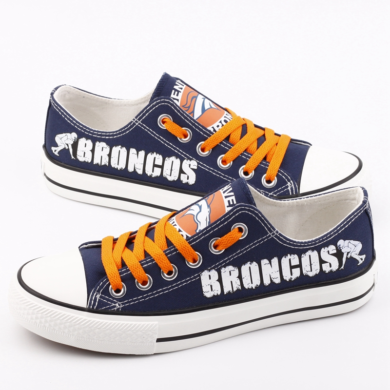 Women Or Youth NFL Denver Broncos Repeat Print Low Top Sneakers 003