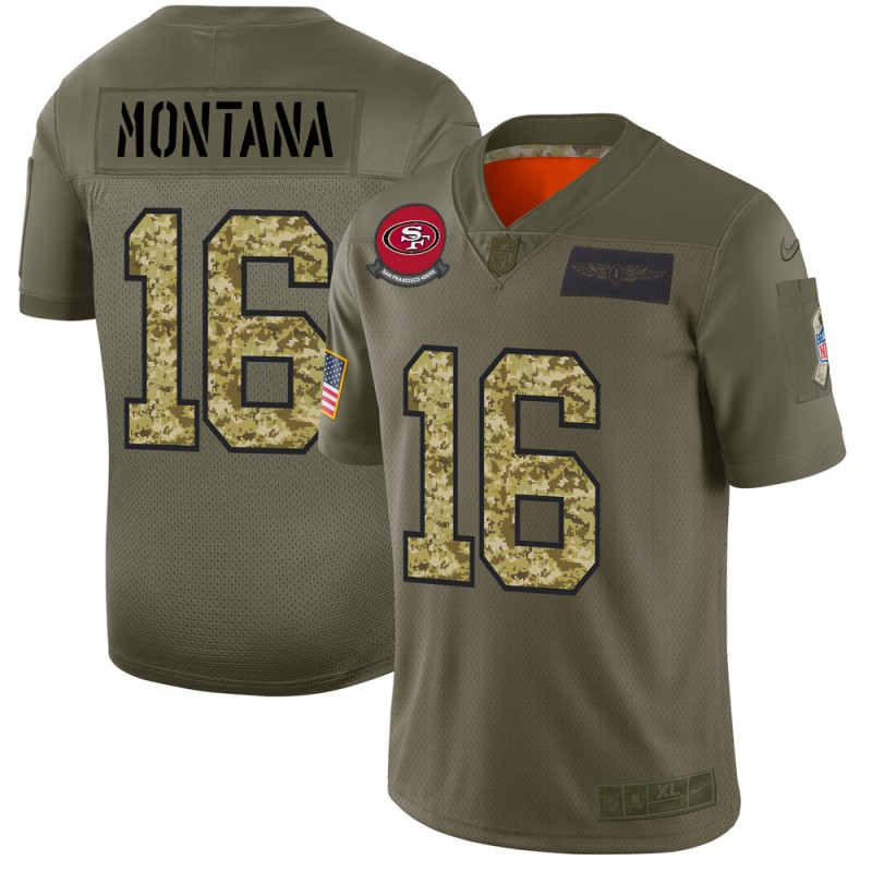 Men's San Francisco 49ers #16 Joe Montana 2019 Olive/Camo Salute To Service Limited Stitched NFL Jersey