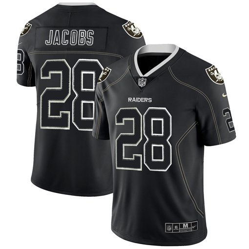 Men's Oakland Raiders #28 Josh Jacobs Black Lights Out Color Rush Limited Stitched NFL Jersey