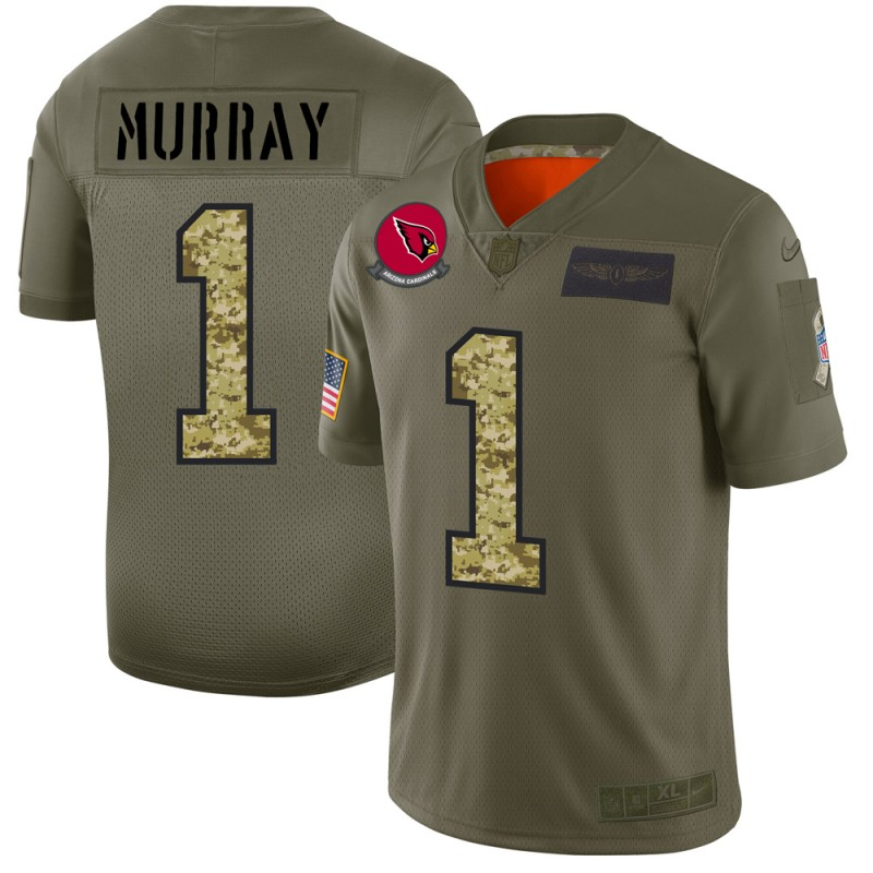Men's Arizona Cardinals #1 Kyler Murray 2019 Olive/Camo Salute To Service Limited Stitched NFL Jersey