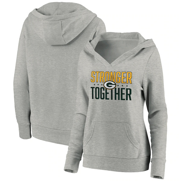 Women's Green Bay Packers Heather Gray Stronger Together Crossover Neck Pullover Hoodie(Run Small)