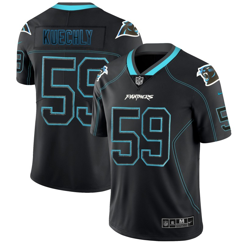 Men's Panthers #59 Luke Kuechly NFL 2018 Lights Out Black Color Rush Limited Jersey