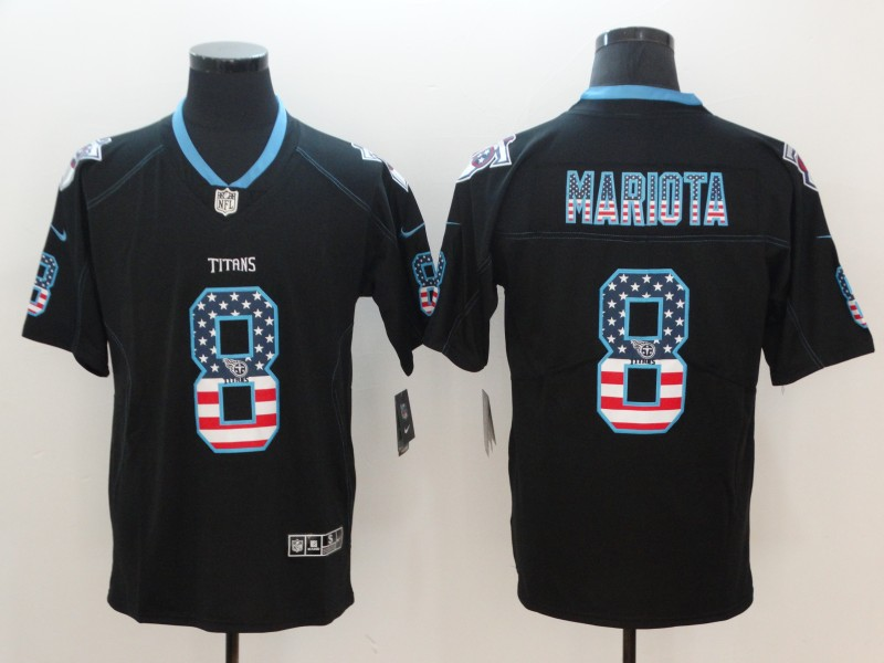 Men's Titans #8 Marcus Mariota Black USA Flag Color Rush Limited Fashion NFL Stitched Jersey