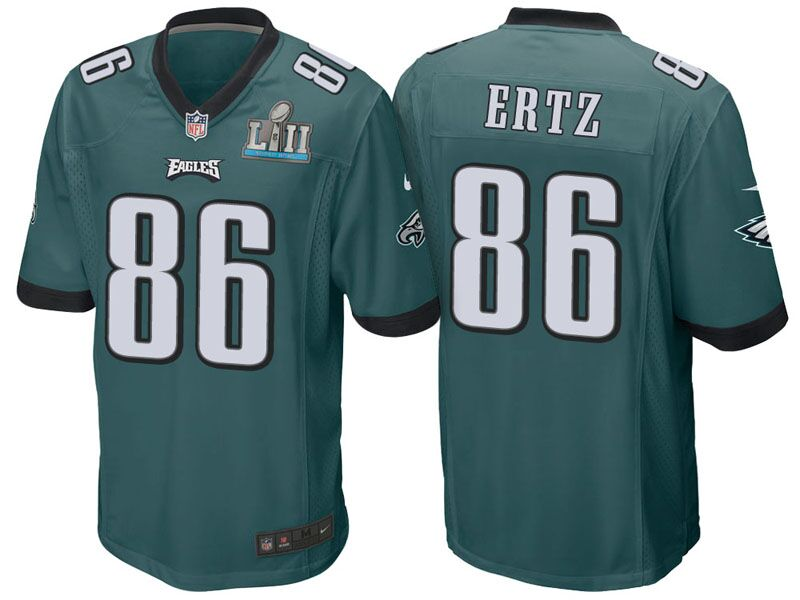 Men's Philadelphia Eagles #86 Zach Ertz Green Super Bowl LII Bound Patch Game Event Stitched NFL Jersey